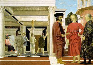Flagellation of Christ (Piero della Francesca), cubist, angles, dimensional