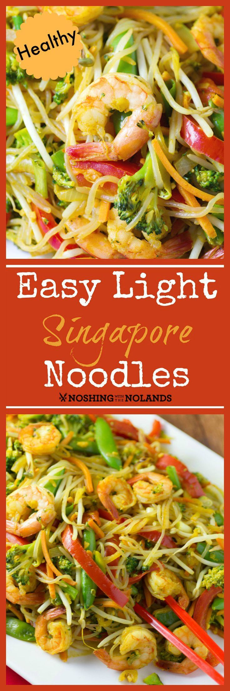 Easy Light Singapore Noodles by Noshing With The Nolands is an incredibly healthy dish which is quick to put together.  The zero calorie Shirataki Noodles just soak up the delectable flavors!