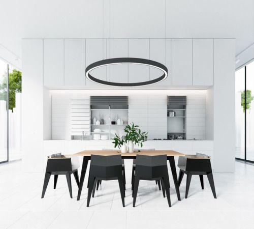 homedesigning:      via (30 Black & White Dining Rooms That Work Their Monochrome Magic)      Ослепительный черно-белый интерьер.   Неотъемлемым пространством для семейного обеда является столовая - жизненно важная, но часто упускаемая из виду часть дома.   Заполняя пространство между гостиной и кухней, она обычно выступает в качестве промежуточного помещения, а не главного.   Использование монохромных интерьеров может сделать вашу столовую особенной.   Повесьте круглый светильник над о...