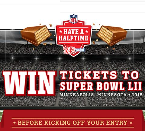 KitKat.ca Have A Halftime contest winner will receive a trip for 2 to Minneapolis, Minnesota, along with 2 tickets to Super Bowl LII (2018), complete with hotel accommodations and spending money. Pretty super, right?  There are also weekly prizes of awesome KIT KAT NFL Prize Packs. So yeah, you should start entering your UPCs.