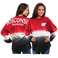 Wisconsin Badgers Women's Ombre Long Sleeve Dip-Dyed Spirit Jersey - Red