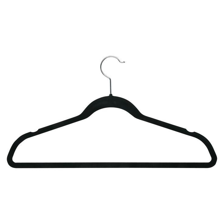 Honey-Can-Do Velvet Touch Suit Hanger - 50-Pack - Black