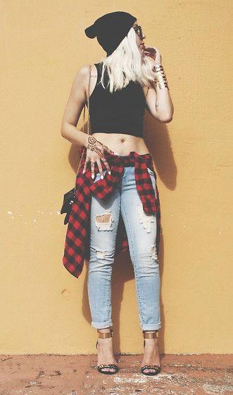 Grunge. Ripped Pants. Heeled Sandles. Plaid. Black Crop Top. Tattoo. Hand. Beanie. Blonde Hair. Cute.