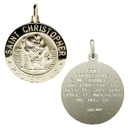 925 Sterling Silver Large Mens 24mm 3D St Christopher Medal Pendant With…