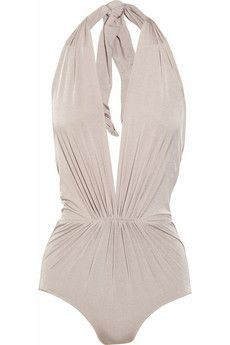 clube bossa ruched plunge-front halterneck swimsuit. $565