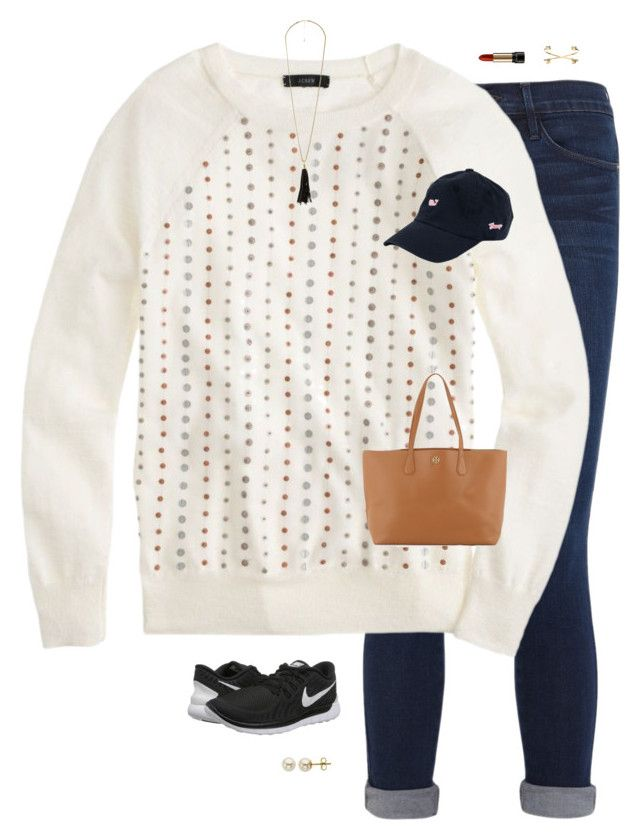 """Nikes, jeans, pearls, and a baseball cap!"" by annaismynameee ❤ liked on Polyvore featuring moda, Frame Denim, J.Crew, Lancôme, NIKE, Vineyard Vines, Lord & Taylor, Charlotte Russe, Jeweliq e Tory Burch"