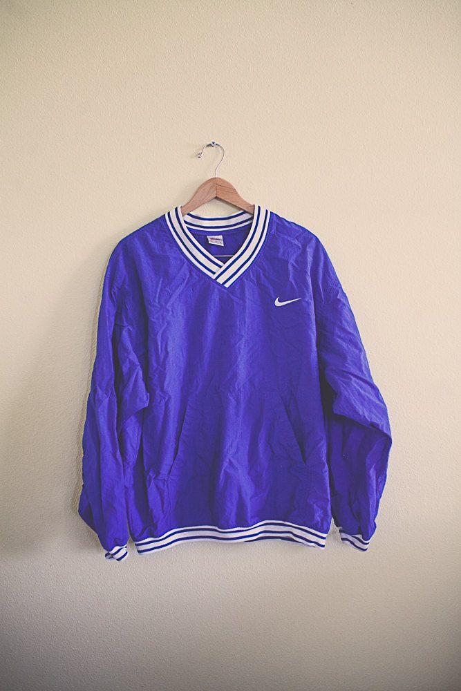 90's 80's  Nike V Neck  Purple  Windbreaker  Oversized Nylon Wind Breaker Jacket Coat Size  Large L 36 Club Ravewear by 7CitiesVintage on Etsy