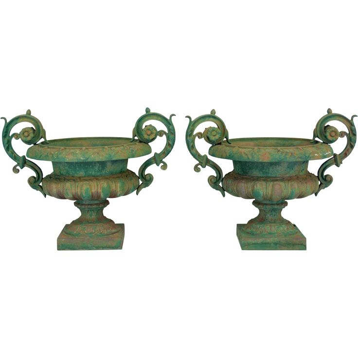 Pair of 19th century French cast iron urn planters, with original weathered green painted patina. Circa 1860-1880.  found at www.rubylane.com @rubylanecom