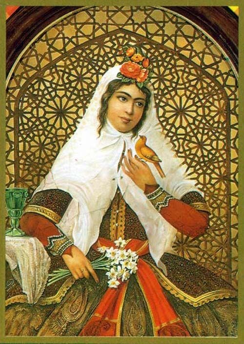 Qajar Noblewoman and the Birdie