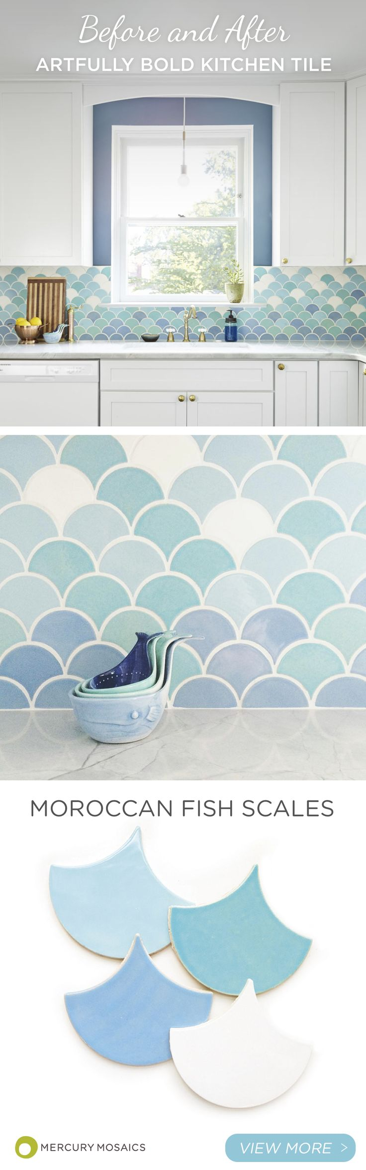 Now this is a kitchen that is sure to make your neighbors jealous! This gorgeous gradation of Moroccan Fish Scales in light blues to white is absolutely breathtaking. What is even more jaw-dropping is the transformation of what it looked like before! Seeing the before and after photos of gorgeous interior spaces can give you hope and inspiration for your renovation project.