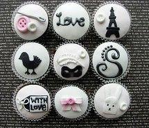 pink black cupcakes