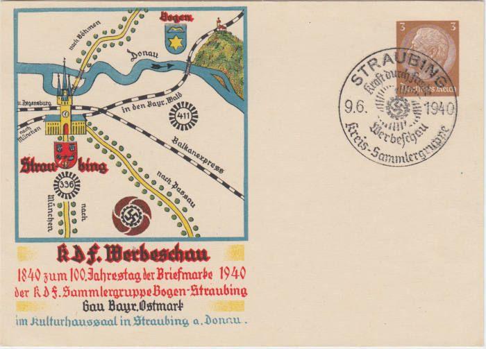 RRR propaganda kártyát KDF Bélyeg Werbeschau 1940Színes megemlékező plakátja 100. évfordulója alkalmából a bélyeg 1840-1940