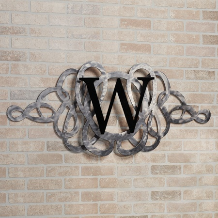 Avley Indoor Outdoor Monogram Metal Wall Grille