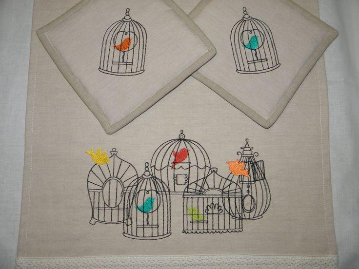 birdcages in kitchen