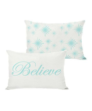 Love this Ivory & Ice Blue 'Believe' Reversible Throw Pillow on #zulily! #zulilyfinds