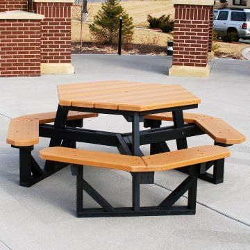 Jayhawk Plastics Commercial Hex Picnic Table