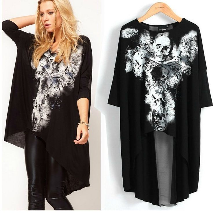plus size rocker clothes | ... rock t-shirts loose plus size clothing punk crop tops for women(China