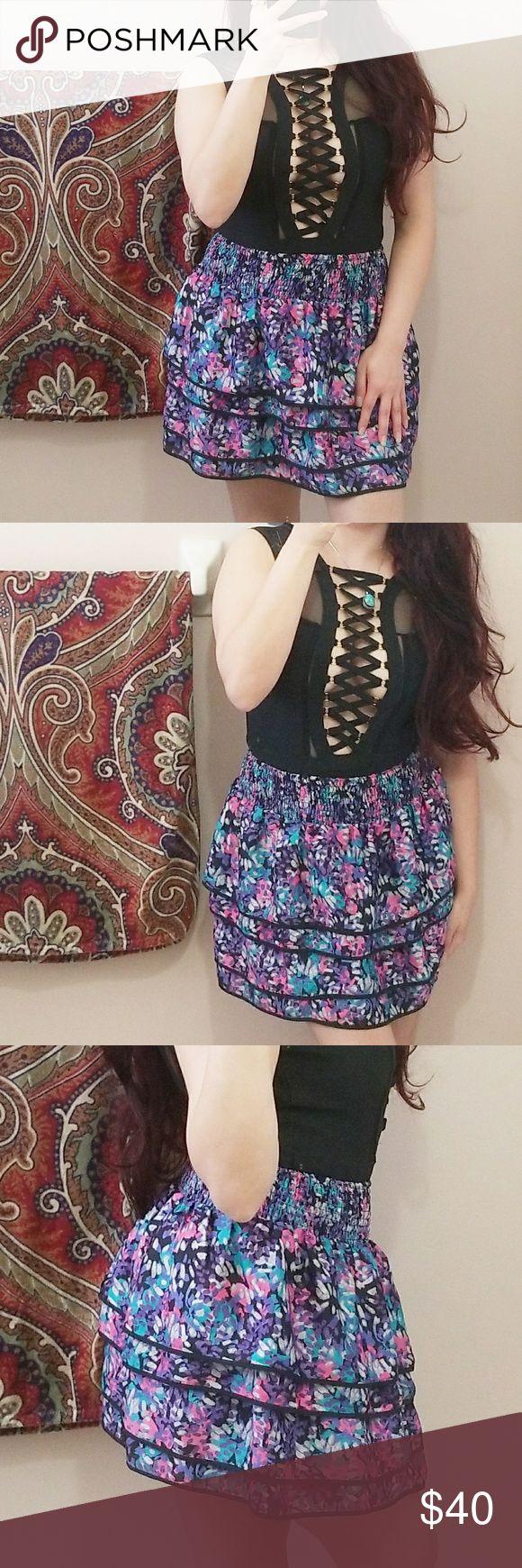 🆕️|SALE|• Forever 21 Ruffle Silk Skirt • Forever 21 Ruffle 4 Tier Silk Skirt  $40 Forever 21 Skirts