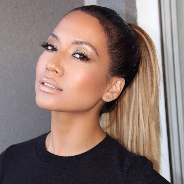 Bronzed make up, Jlo glow, perfect highlight and contour, nude lips, bronze eyes slick pony tail - Jlo inspired