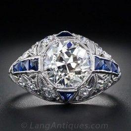 2.36 Carats Diamond and Sapphire Art Deco Ring