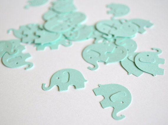 mint baby elephant confetti baby shower by LittleMerriments, $2.00