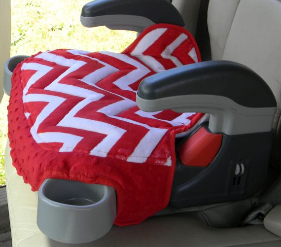Graco Booster Seat Covers In Minky Chevron Print With Red
