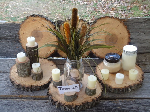 Quot large hickory wood slices rustic wedding centerpiece