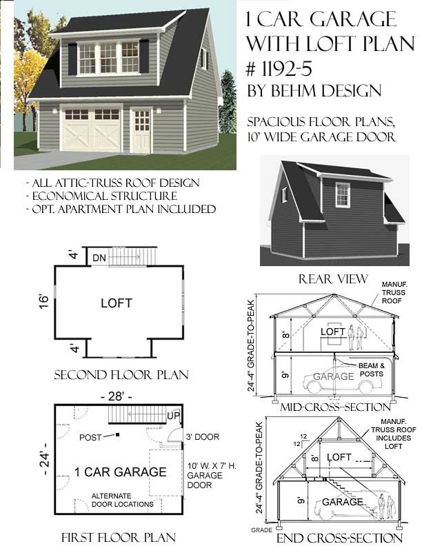 ordinary 24x28 garage plans #7: Garage Plans By Behm Design, real garage plans for real projects, free  materials list before buying garage floor plans,guaranteed for permit most  locations.