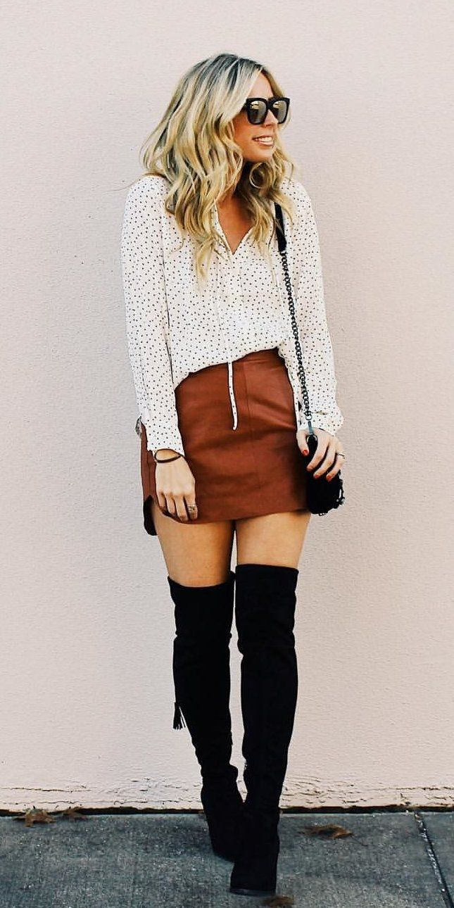 #winter #outfits beige button-up long-sleeved shirt and brown skirt