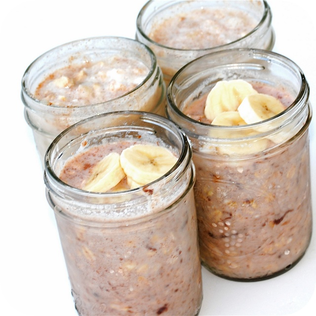 No cook oatmeal in a jar. Just put the ingredients together the night before.