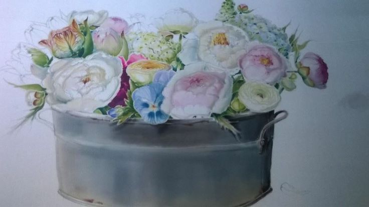 flowers in proces ,silk painted