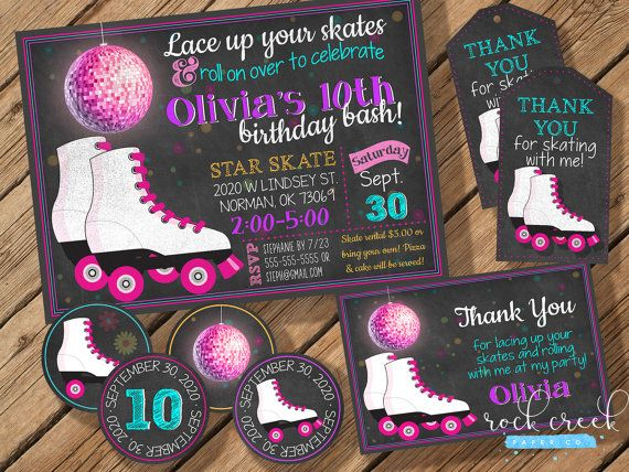 Roller Skating Party Pack includes invitation by RockCreekPaperCo