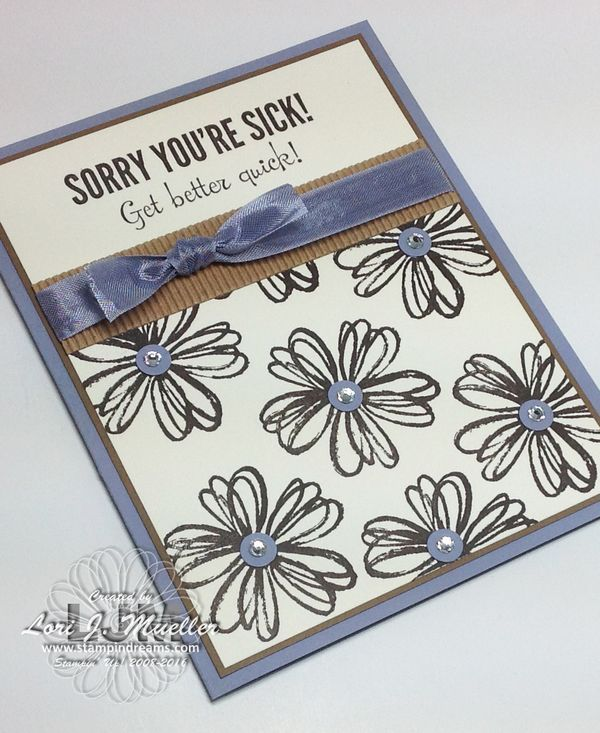 """Creative Inking Blog Hop featuring Springing Into Flowers. Flower shop stamp set.  Get well card.  Retiring Stampin' Up! products: Fabulous Four, Wisteria Wonder 1/2"""" Seam Binding and Kraft Corrugated paper. Created by Lori Mueller at stampindreams.com"""