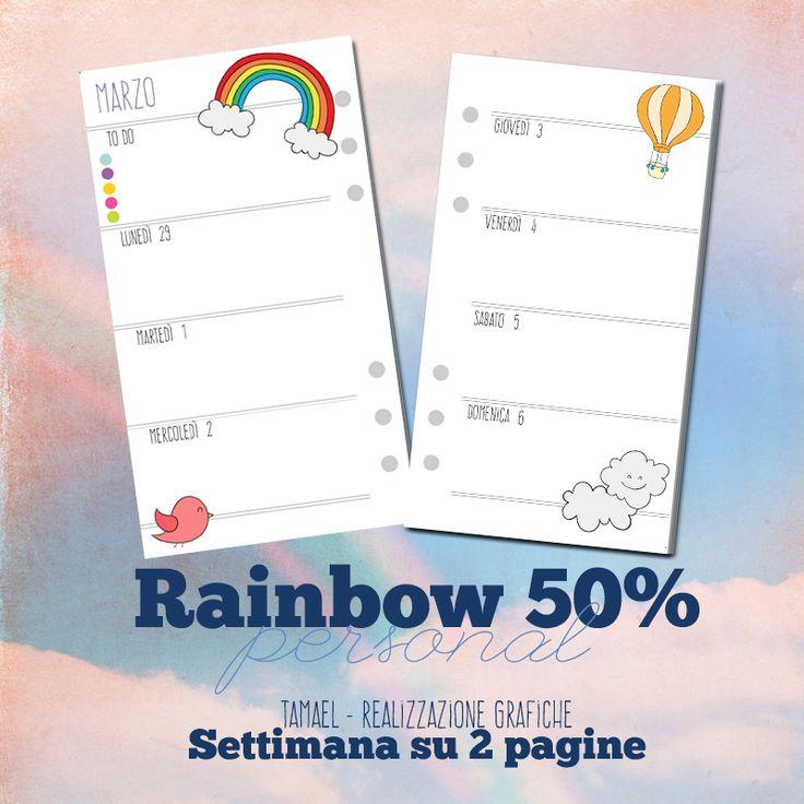 Nome: Rainbow 50% Dimensione: Personal Tipologia: Settimana su 2 Pagine - Consecutivo Note: To Do prima del lunedì