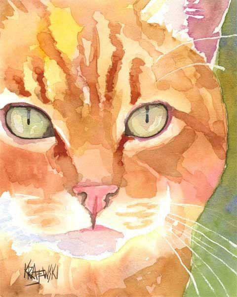 Orange Tabby Cat Art Print of Original Watercolor Painting - 8x10