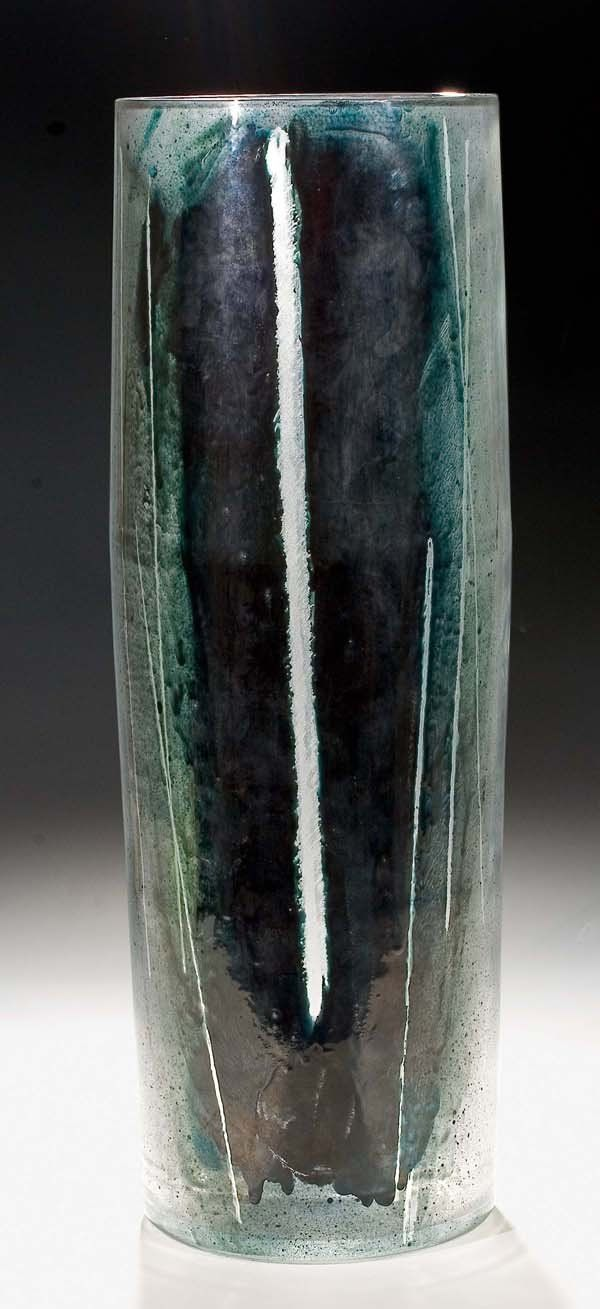 Vase, painted glass by abstract decoration, H: 52,0cm, 1967