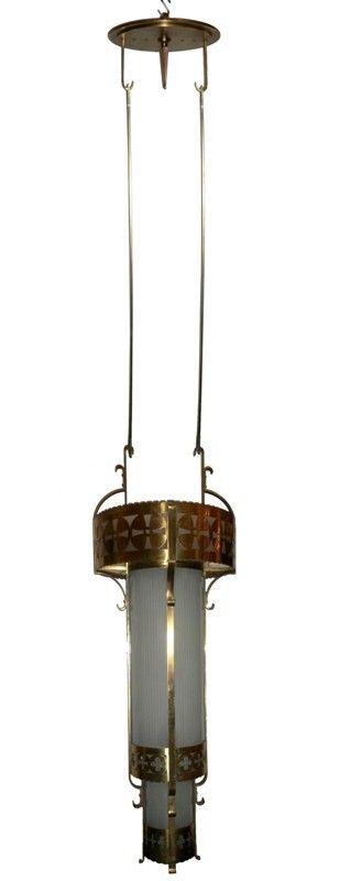 massive antique art deco sixlight brass chandelier station nashville tn