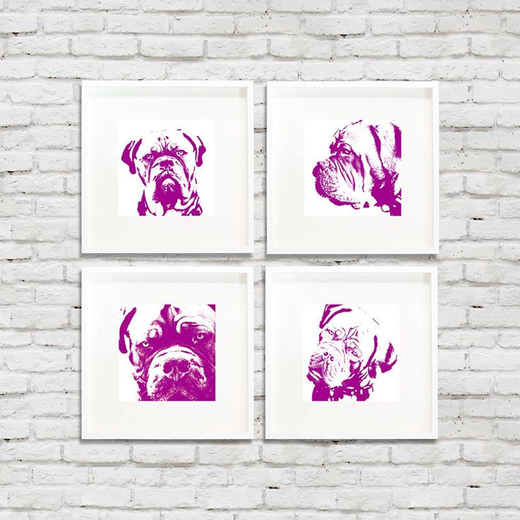 Set of 4 pet photography bower purple, baby room decor, kids room decor, purple dog art, bulldog boxer dog art fine art paper by PHOTOFORWALL on Etsy