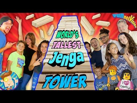 WORLD'S LARGEST JENGA TOWER FALLS DOWN!! 9+ ft. Tall Giant Jumbo Blocks w/ FUNnel Vision & Friends - YouTube