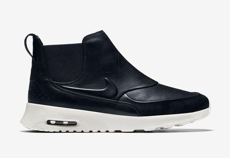 Nike Air Max Thea Mid — dámské kotníkové boty — kožené — slip on — dámská perka (Chelsea Boots) — černé #nike #nikeairmaxtheamid #nikeairmaxthea #nikeair #sneakers #chelseaboots