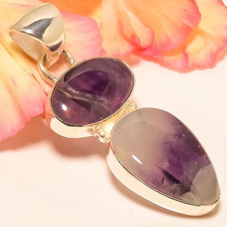 "Brazilian Chevron Amethyst 925 Sterling Silver Jewelry Pendant 2.29"" #Handmade #Pendant"