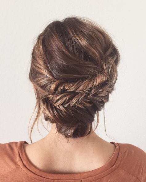 Make two fishtail braids, and slap them around the back of your head. Secure with bobby pins.