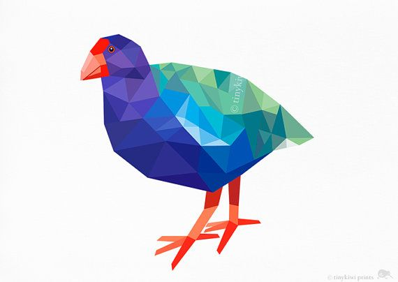 Takahe, New Zealand Bird, Geometric print, Original illustration, Animal print, Minimal art, Nursery wall art