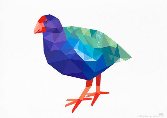 Takahe New Zealand Bird Geometric print Original by tinykiwiprints