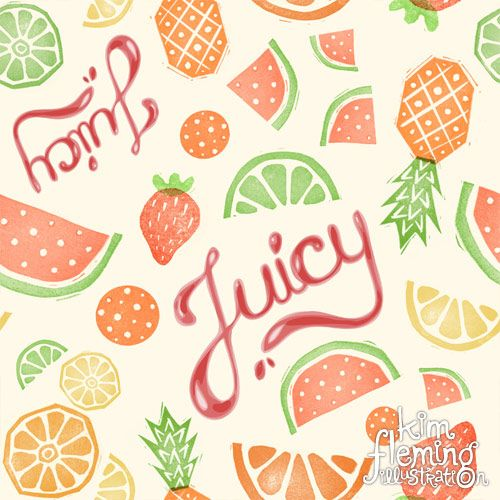 This is my juicy fruit pattern, made with hand-carved stamps -- fun and summery!