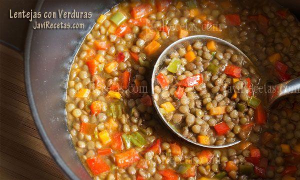 Lentejas con verduras // Lentils with vegetables recipe in spanish
