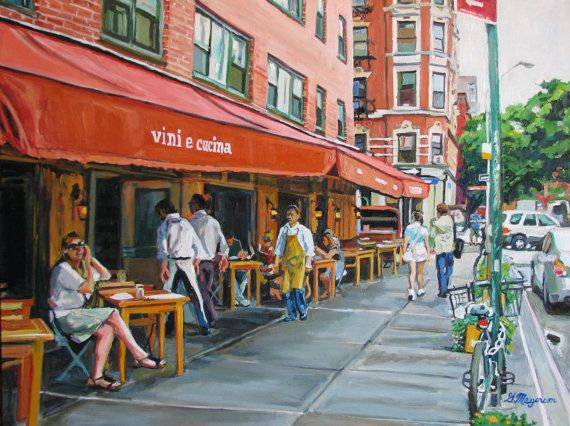 "NYC Art Wall Decor Morandi Outdoor Cafe Fine Art Print 8x10, ""Vini e Cucini"" New York City Cityscape red Painting by Gwen Meyerson -- Can't wait to hang this in my new apartment!!!"