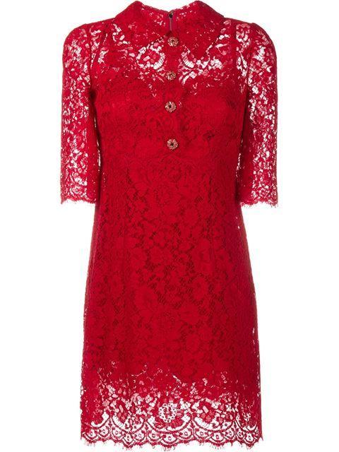 Dolce & Gabbana кружевное платье с пуговицами