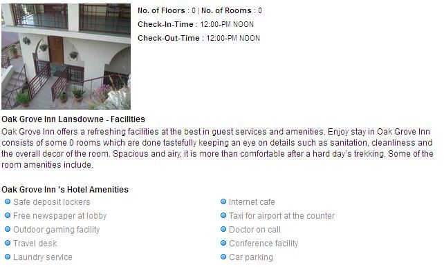 Oak Grove Inn Lansdowne  hotel facilities