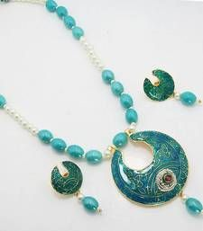 Material Used : Meenakari    Necklace    Length : 23 cm   Width : 5.8 cm     Earrings   Length : 4 cm   Width : 2.5 cm Weight : 40 gms